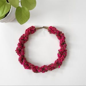 Fuchsia Statement Beaded Necklace